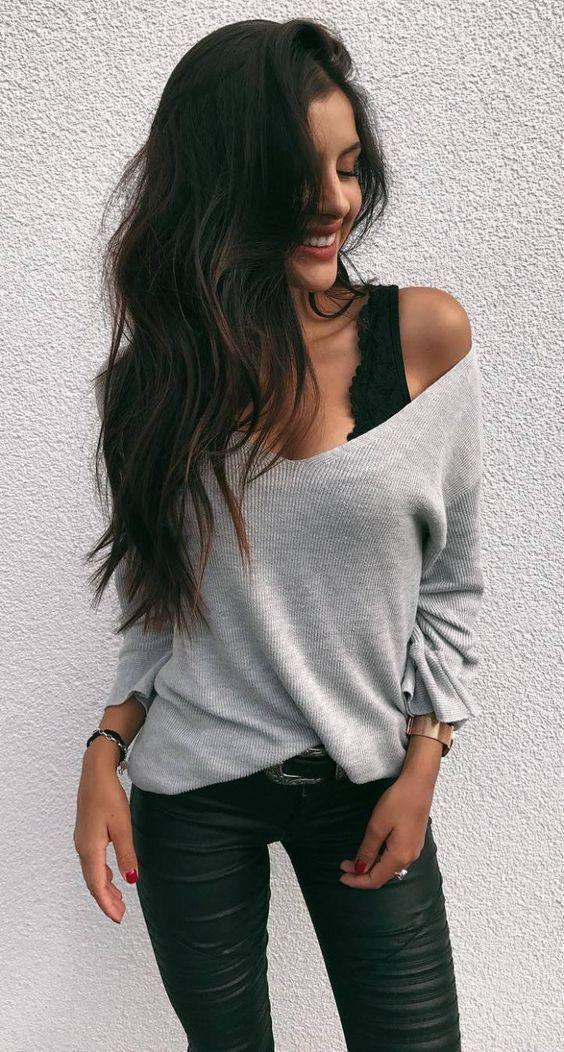 süßes Herbstoutfit / Top + ein Schulter Pullover + Skinnies