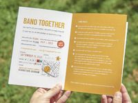 Snippet of the event info page from a promotional brochure for the 2013 Battle of the Bands charity event benefitting the East Durham Children's Initiative.   More at http://mlawsondesign.com/botb/
