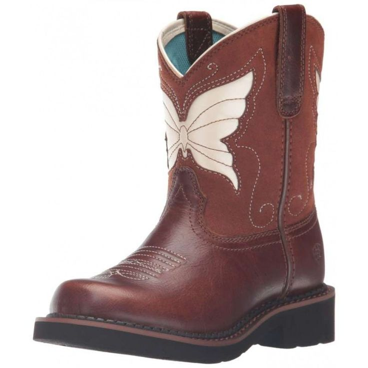 ARIAT KIDS FATBABY WINGS TAN MAPLE GLAZE  Have your little cowgirl showing off her style in and out of the arena with the sculpted butterfly on the shaft these boots are sure to turn some heads.   $139.95