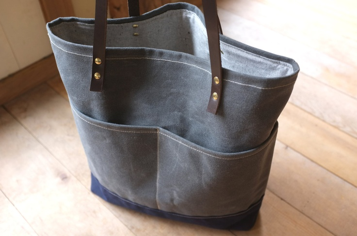 Waxed Canvas Tote - Front Pockets - Charcoal Grey - Leather Straps - Organic Cotton Lining. $98.00, via Etsy.: Front Pockets, Wax Canvas, Organizations Cotton, Charcoal Grey, All Canvas, Leather Straps, Totes Front, Grey Leather, Pockets Charcoal