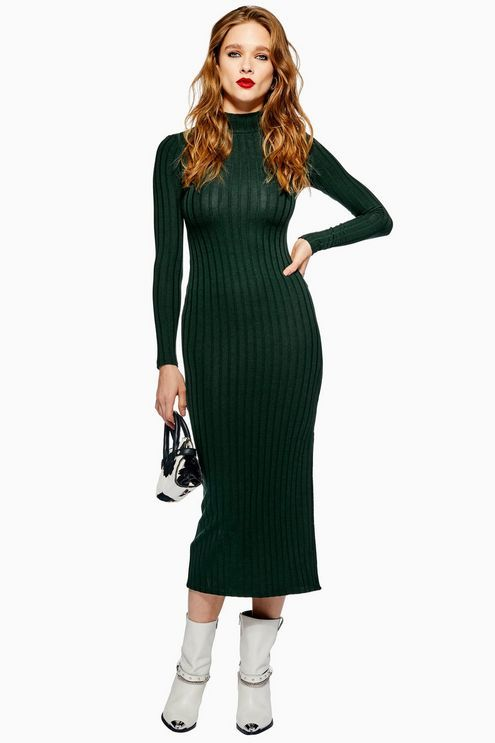 9080400b49eefa Green High Neck Ribbed Midi Dress | Chill Looks 4 Fall & Winter ...