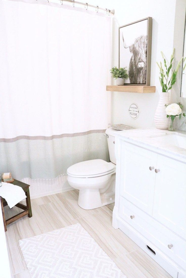 Modern Farmhouse Bathroom – How to style Small Bathroom for kids and guests. She…   – curtain bathroom