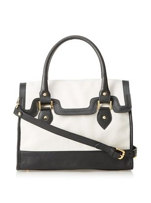 59% OFF Luciana Verde Women's Susan Satchel, Black/Bone
