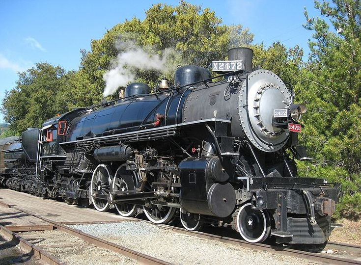 4-6-2 Pacific class locomotive built by Baldwin in 1921 for Southern Pacific.  Now at the Niles Canyon Railway, Sunol, California