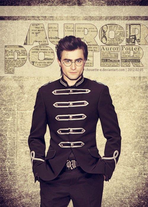 Harry as an Auror, by http://chouette-e.deviantart.com/: Danielradcliffe, Harry Potter Cast, Harrypotter, Book, Auror Potter, Military Uniforms, Things, Potterhead, Daniel Radcliffe