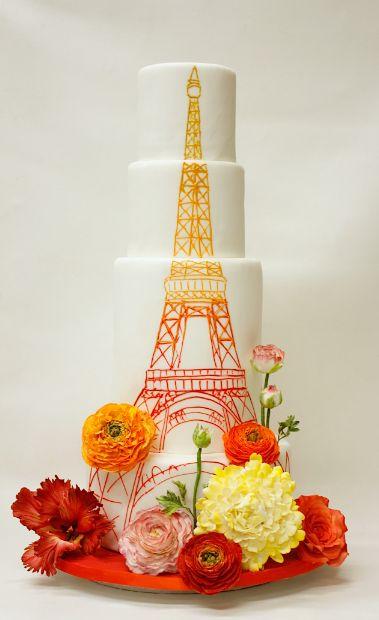 Wedding Cake Inspiration: Orange Eiffel Tower Cake
