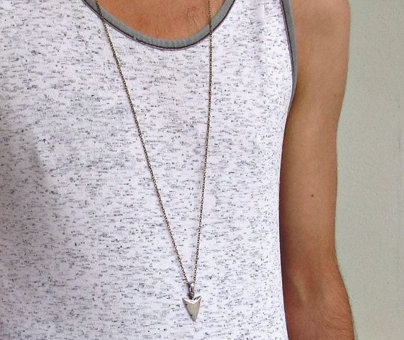 Men's Necklace Men's Spear Necklace Men's Silver by GUSFREE
