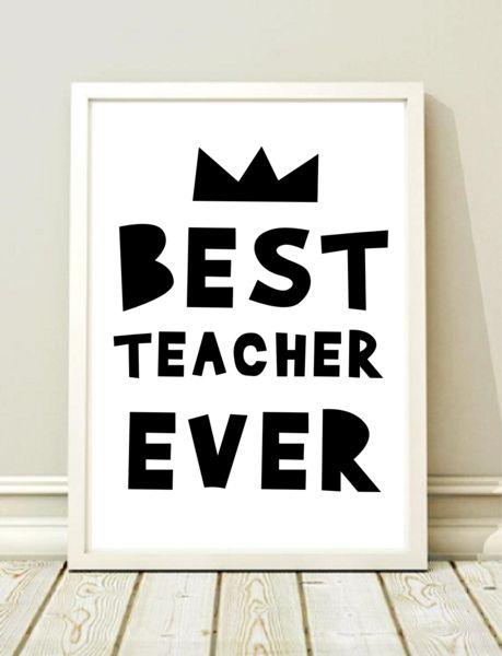 Prezent dla DZIEŃ NAUCZYCIELA  BEST TEACHER EVER - black-dot-studio - Plakaty dla dzieci