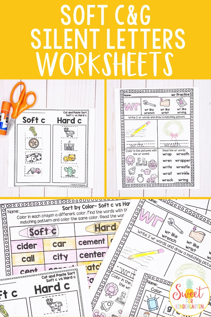 Soft c, Soft g, and Silent Letters Worksheets Distance