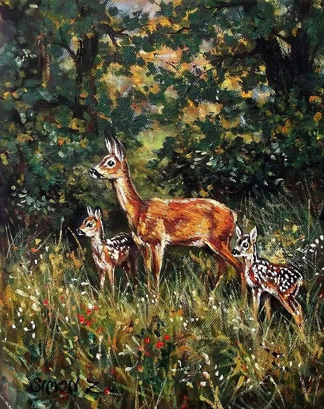 Roe deer family by Zoltan Simon  Oil, 30x25 cm.