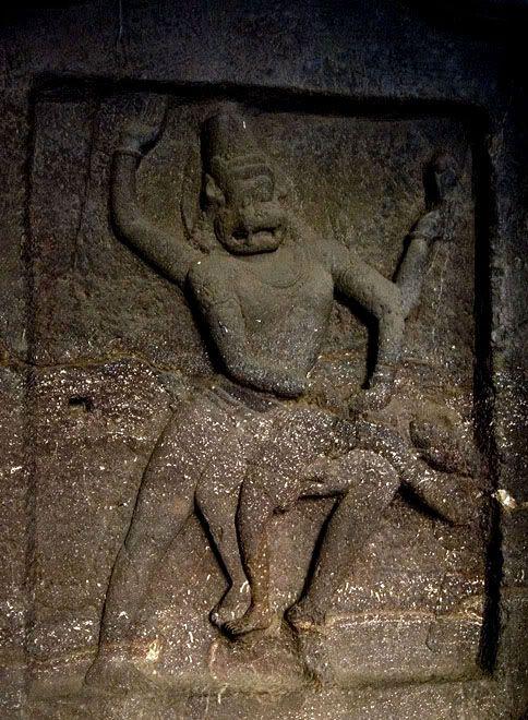 Narasimha devouring Hiranyakashipu - Ellora caves