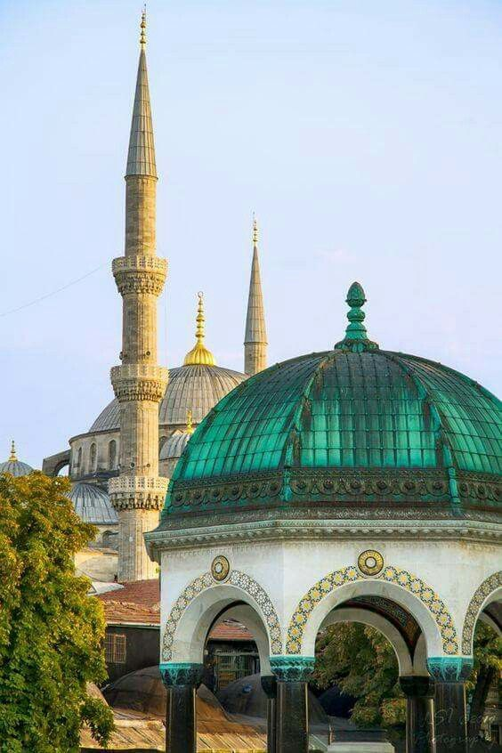 Historical Beauty . Blue Mosque And The German Fountain, Istanbul, Turkey Original Name In Turkish- Sultan Ahmet Cami and Alman Cesmesi