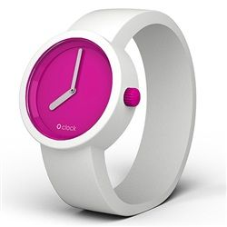 O clock watch - Violet (Fuchsia) face with White strap