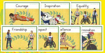 Olympics and Paralympics Values Display Posters - australia, olympics, rio…