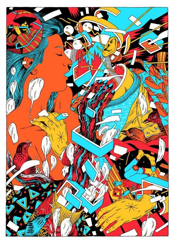 Le collectif brésilien Bicicleta Sem Freio est composé de trois illustrateurs (Douglas, Victor et Renato) qui créent des images chargées de couleurs acidulées pour des festivals, des publicités ou du street art.