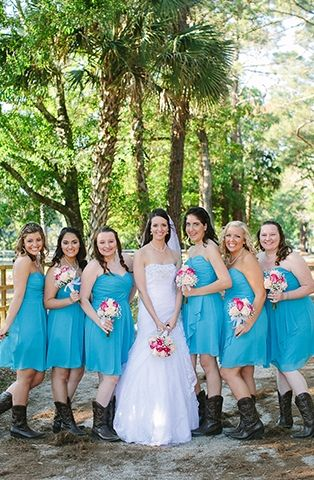 Teal Bridesmaid Dress with Boots