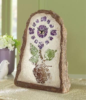 Perfect for bathroomFlowerpot Clocks, Comfy Funky, Floral Glasses, Glasses Mosaics, Funky House, Mosaics Clocks, Mosaics Flowerpot