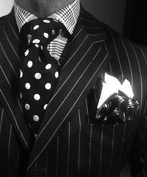 thesnobreport:  WIWT Grey Pinstriped Suit By Duncan Quinn, POW Checked Shirt By Emanuele Maffeis Per Oger, Polkadotted Tieand Skull Bones Square