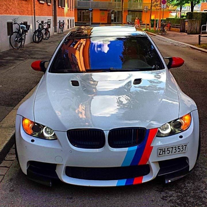 BMW E92 M3 white with ///M stripe