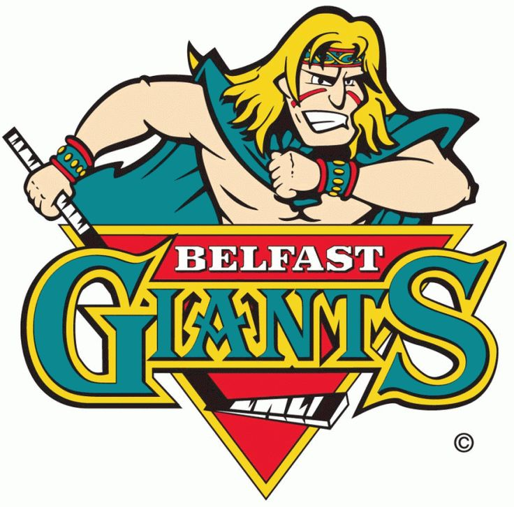 EIHL Belfast Giants Primary Logo (2004) - Present. I feel like this is something straight out of a rejected Disney movie. Awesome nonetheless!