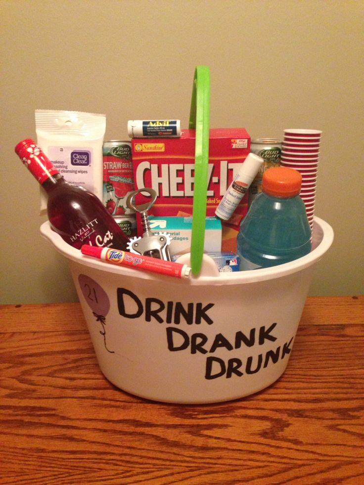 21st Birthday Basket! Puke bucket, hang over cures, etc!