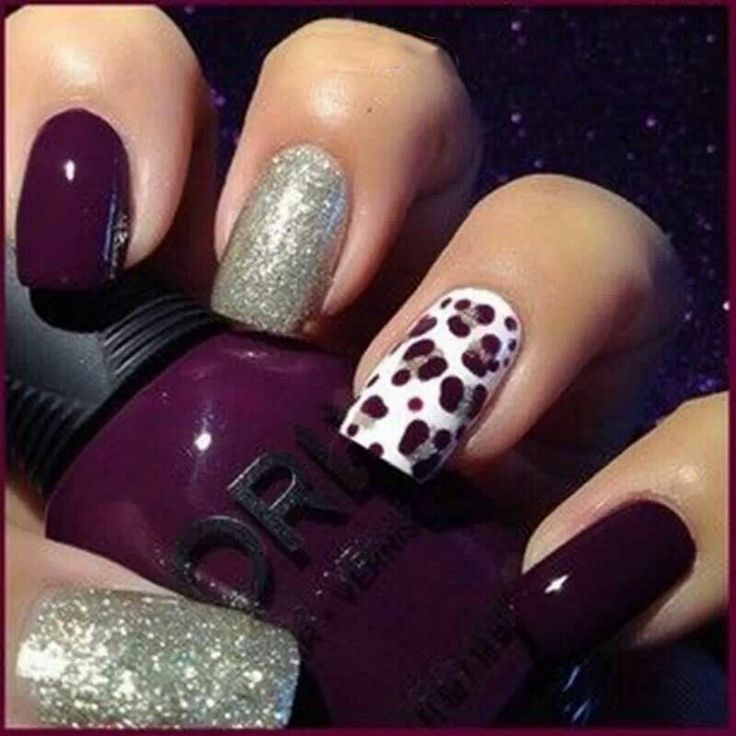 Dark Purple, White, and Silver Leopard Nails