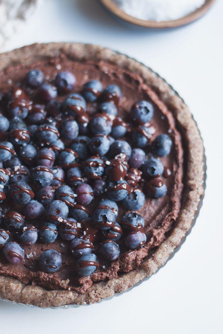 raw vegan salted blueberry chocolate tart