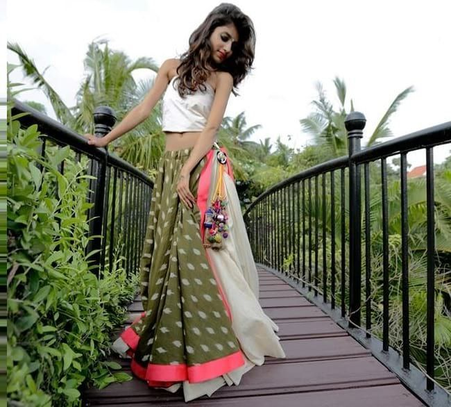 Multicolored LayeredGhagra Choli with Halter Neck  #Multicolor  #Layered  #Halter  #Printed