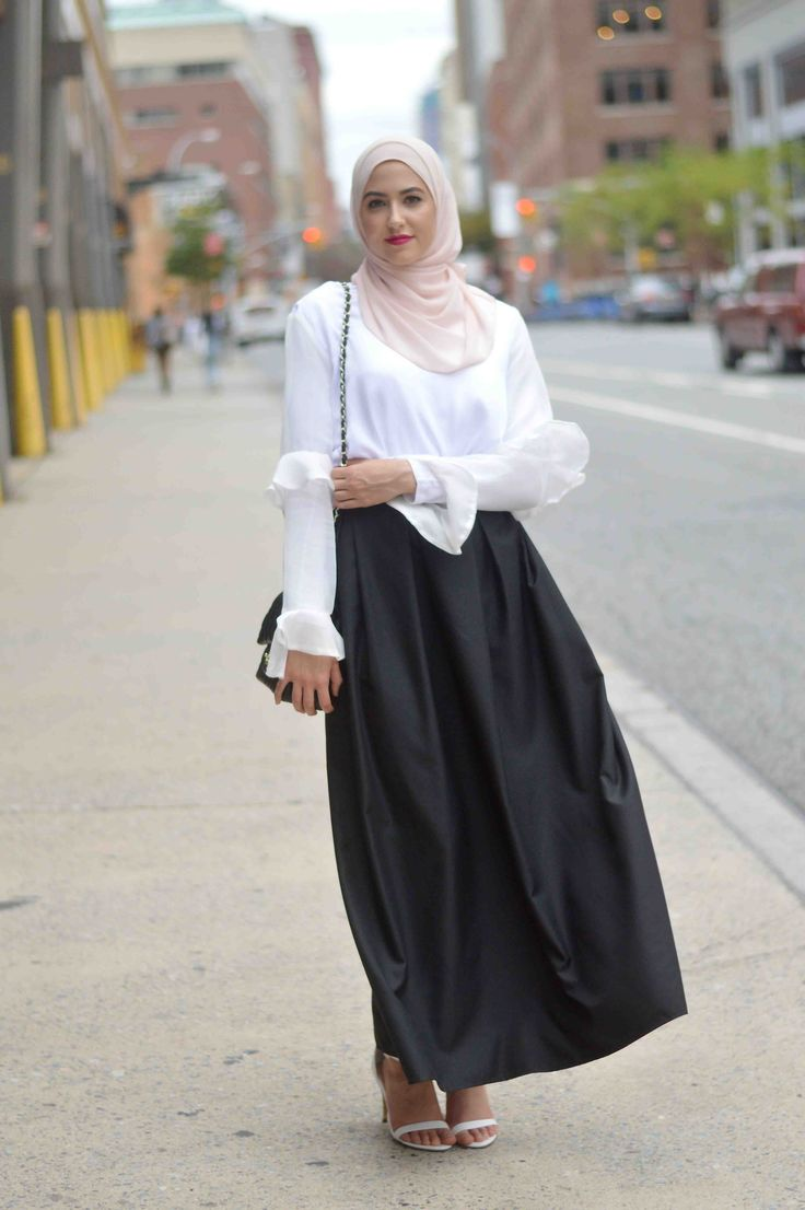 NYFW Street Style, black maxi skirt, hijab fashion With Love, Leena. – A Fashion + Lifestyle Blog by Leena Asad
