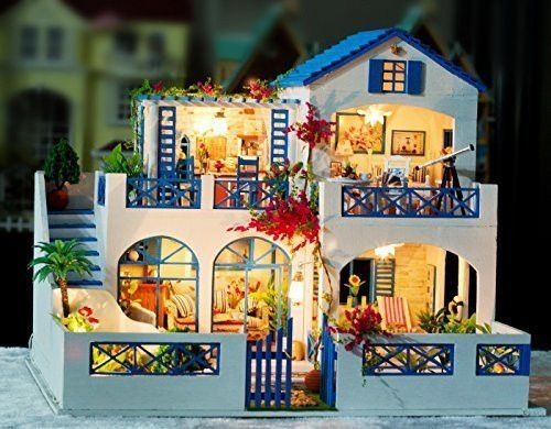Ploy loving family furniture dollhouse - Miniature accessories wooden dollhouse , mansion doll house kit with led lights ,for Children Creative Assembling Toys + Blue Meteor Garden K-006
