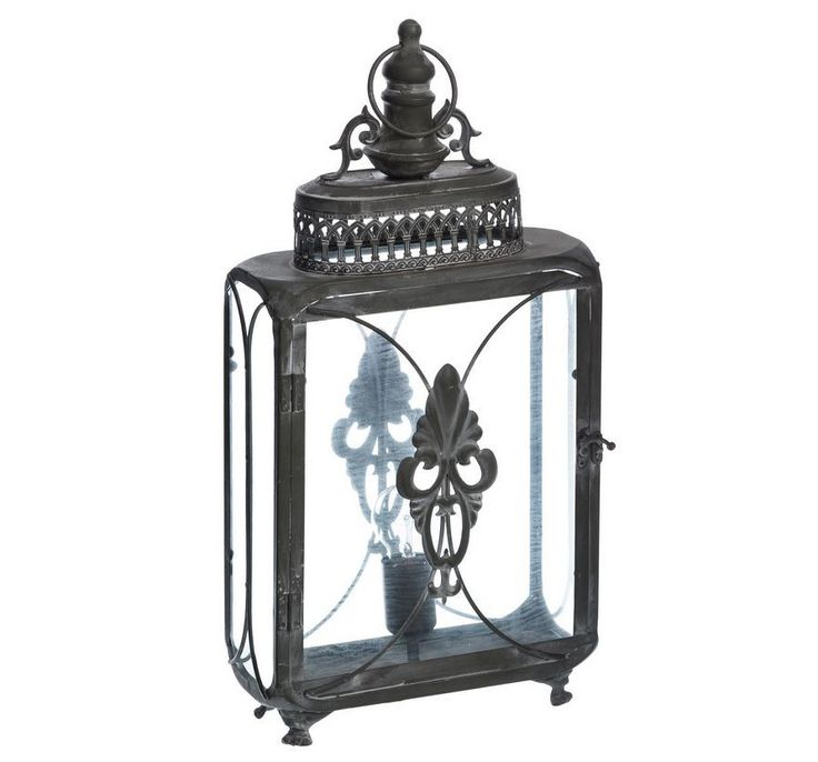 Lámpara Farol de Mesa Gris 15 x 28,5 x 58 cm