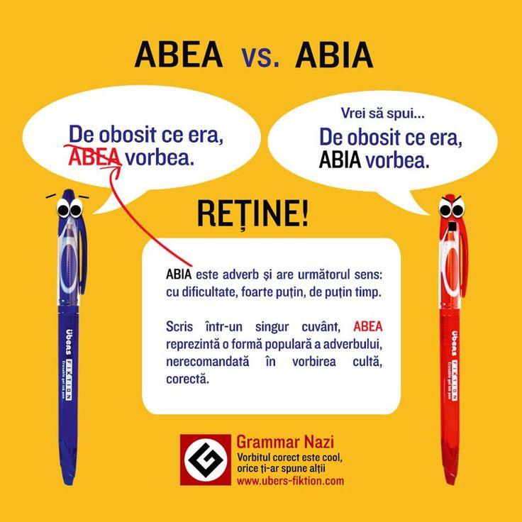 """""""Abea"""" sau """"Abia"""" ? Care este forma corectă? #ubers #Fiktion #GrammarNazi"""