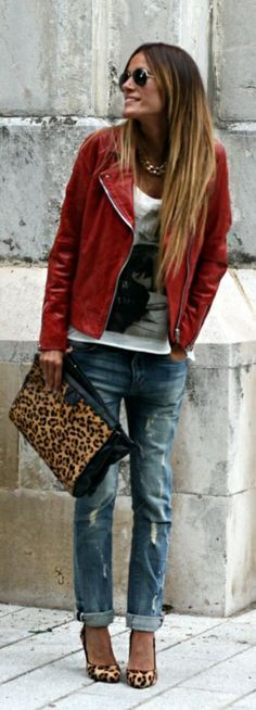 red denim jacket, white print tee, ripped jeans, leopard accessories.