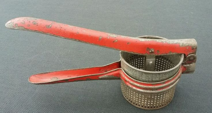 Vintage Rustic Potato Ricer Masher Red Handle Metal Kitchen Tool