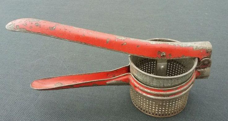Vintage Rustic Potato Ricer Masher Red Handle Metal Kitchen Tool