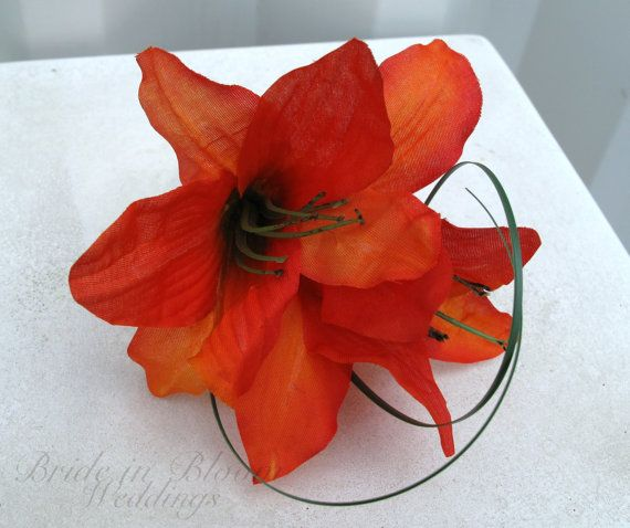 Silk Boutonniere orange tiger lily wedding by BrideinBloomWeddings, $12.00