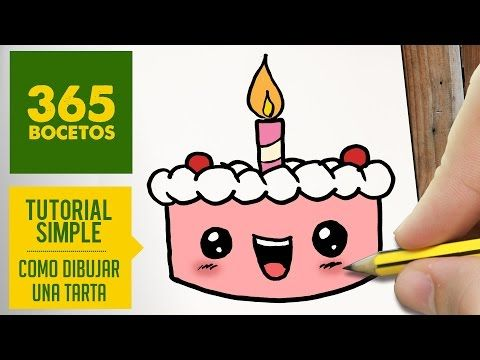 COMO DIBUJAR TARTA KAWAII PASO A PASO - Dibujos kawaii faciles - How to draw a CAKE - YouTube