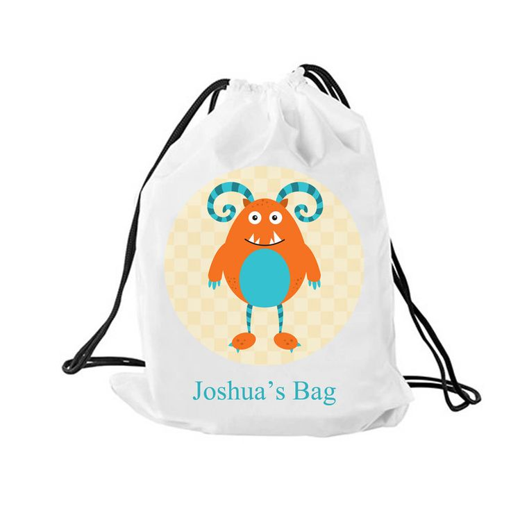 Personalized boys drawstring bag, Personalised drawstring backpack, kit bag, swimming bag, school bag by cjcprint on Etsy
