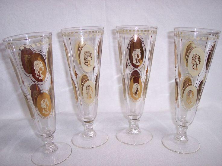 Vintage Mid-Century Modern Gold Embellished Pilsner Beer Glass Parfait RARE 4