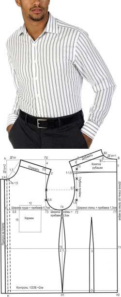 Выкройка мужской рубашки с кокеткой от А. Корфиати