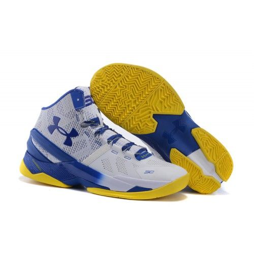 UA Curry Two Elite Mens Basketball Shoes White Blue Yellow - Stephen Curry Shoes…