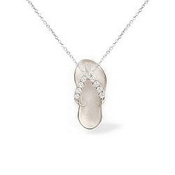 """I want one...Yellow Gold Petite Hawaiian Slipper Pendant with Diamonds (9/16"""" long, Chain included)"""