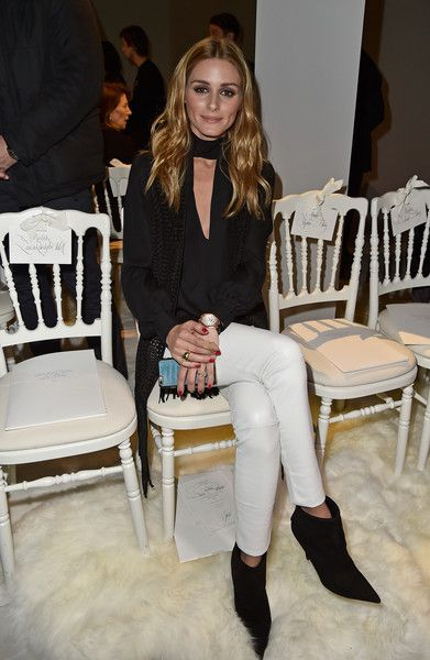 Olivia Palermo kept her look monochromatic in a black and white outfit while sitting front row at the Giambattista Valli Spring Summer 2016 show.