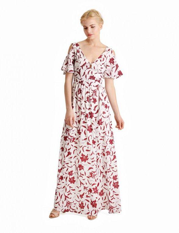 Μάξι φόρεμα με τυπωμα ιβίσκους και ανοιχτή πλάτη - Κόκκινο & Άσπρο