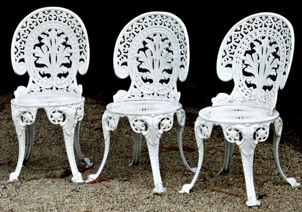 white painted cast iron garden seats - chairs