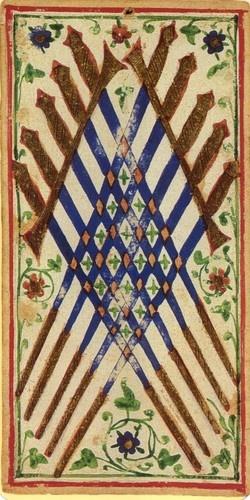 """""""Visconti-Sforza Tarot Cards"""" (1455)  10 of swords"""