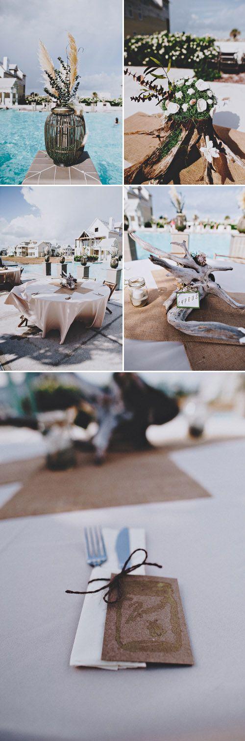Port Aransas Texas Beach Wedding With Driftwood And Wooden Flower Decor Photos By Joseph