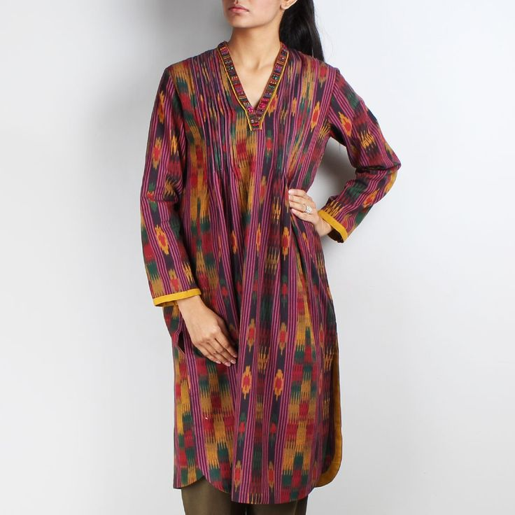 Multicolor Ikat Pintuck Tunic with Embellished V-Neckline  www.tadpolestore.com #tunics #winter #clothes #women #fashion #designer #OnlineShopping #TadpoleStore