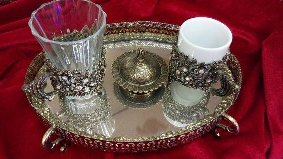 Arabic Coffee set mug  Coffee service cup Mirror tray Coffee