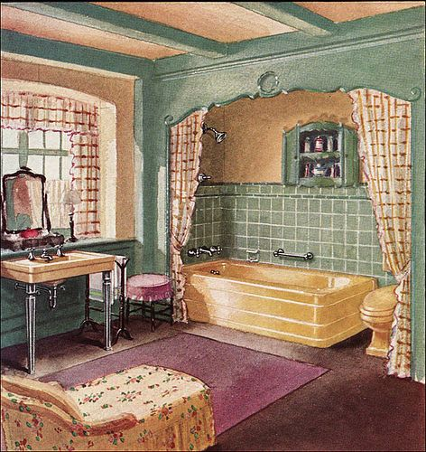 1930 Crane Bathroom - I want to do something like these curtains in my kitchen, in front of the washer dryer.